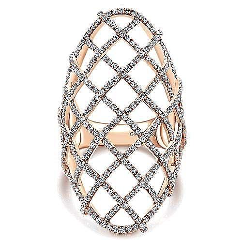 14k Rose Gold Lusso Diamond Fashion Ladies' Ring angle 1