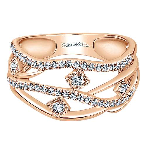 14k Rose Gold Lusso Diamond Fashion Ladies' Ring angle 1