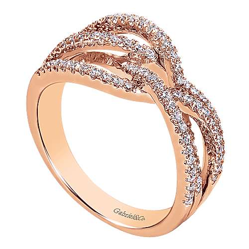 14k Rose Gold Lusso Diamond Fashion Ladies' Ring angle 3
