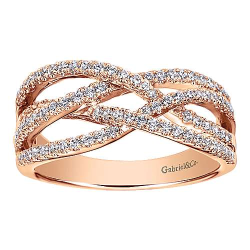 14k Rose Gold Lusso Diamond Fashion Ladies' Ring angle 4