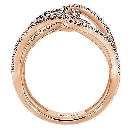 14k Rose Gold Lusso Diamond Statement Ladies' Ring angle 2