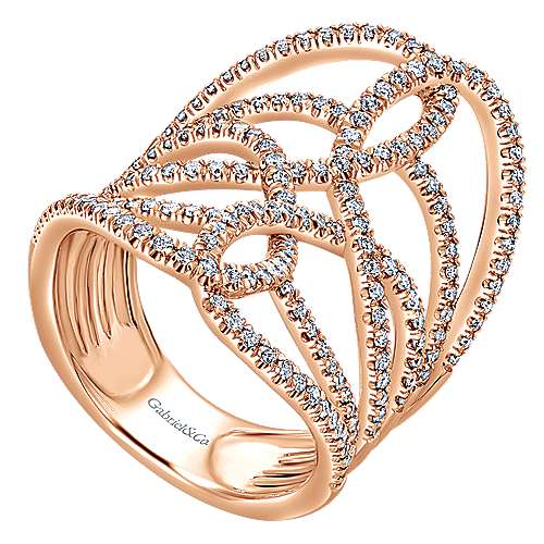 14k Rose Gold Lusso Diamond Statement Ladies' Ring angle 3