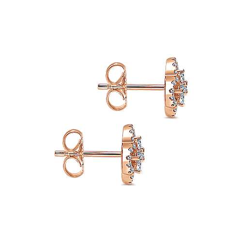 14k Rose Gold Lusso Diamond Stud Earrings angle 3