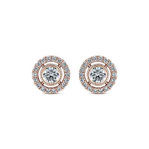 Gabriel - 14k Rose Gold Lusso Diamond Stud Earrings
