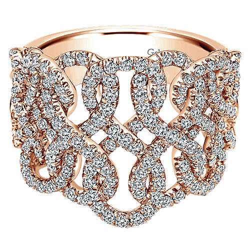 Gabriel - 14k Rose Gold Lusso Diamond Wide Band Ladies' Ring