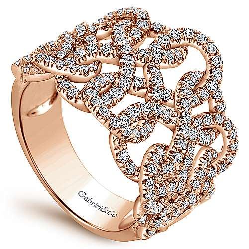 14k Rose Gold Lusso Diamond Wide Band Ladies' Ring angle 3
