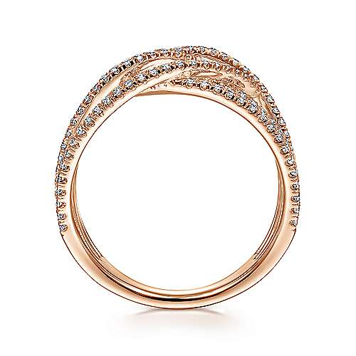 14k Rose Gold Lusso Diamond Wide Band Ladies' Ring angle 2