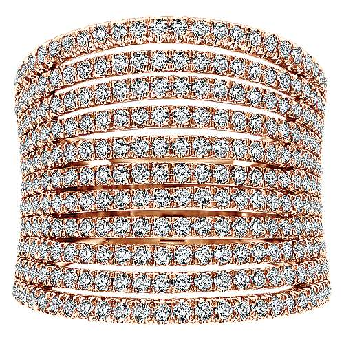 14k Rose Gold Lusso Diamond Wide Band Ladies' Ring angle 4