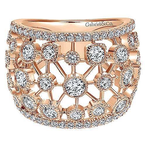 Gabriel - 14k Rose Gold Lusso Diamond Wide Band Ladies' Ring