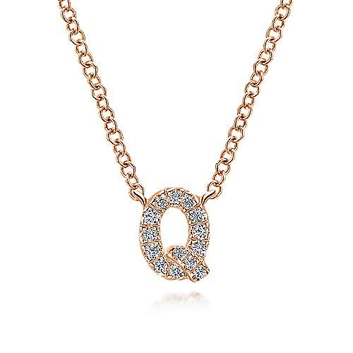 14k Rose Gold Lusso Initial Necklace