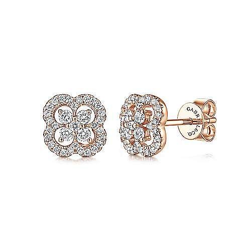 14k Rose Gold Lusso Stud Earrings angle 1