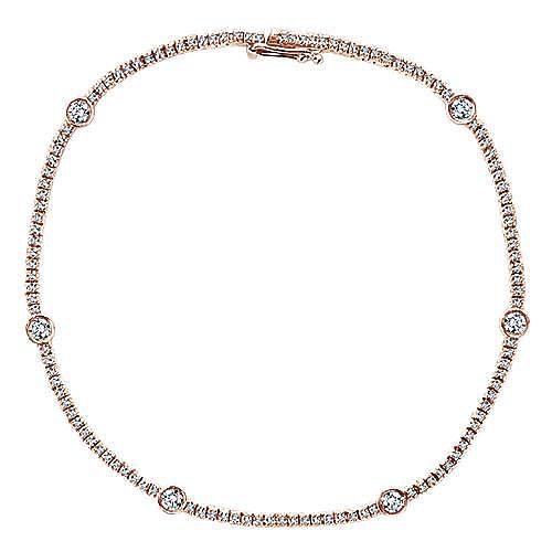 14k Rose Gold Lusso Tennis Bracelet angle 1