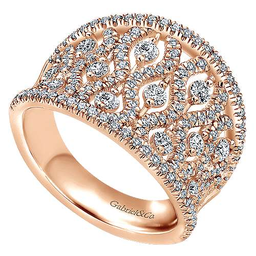 14k Rose Gold Lusso Wide Band Ladies' Ring angle 3
