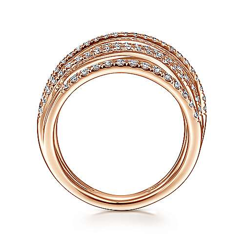 14k Rose Gold Lusso Wide Band Ladies' Ring angle 2