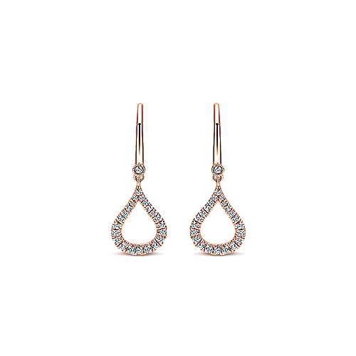 14k Rose Gold Open Teardrop Diamond Drop Earrings