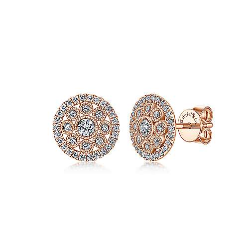 14k Rose Gold Openwork Round Diamond Stud Earrings