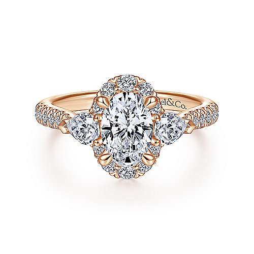 Gabriel - 14k Rose Gold Oval Halo Engagement Ring
