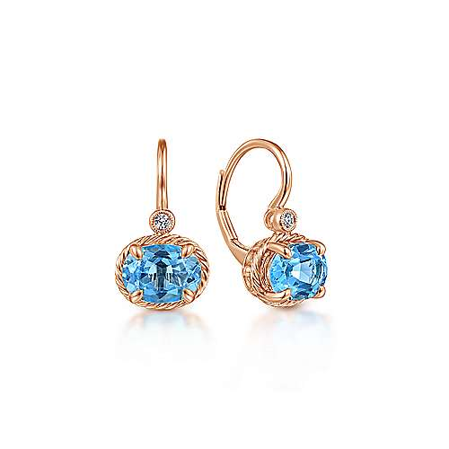 14k Rose Gold Oval Swiss Blue Topaz and Diamond Leverback Earrings