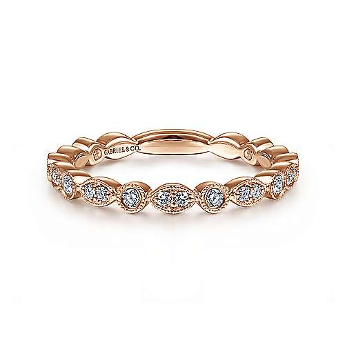 14k Rose Gold Oval and Circular Stackable Ladies Ring