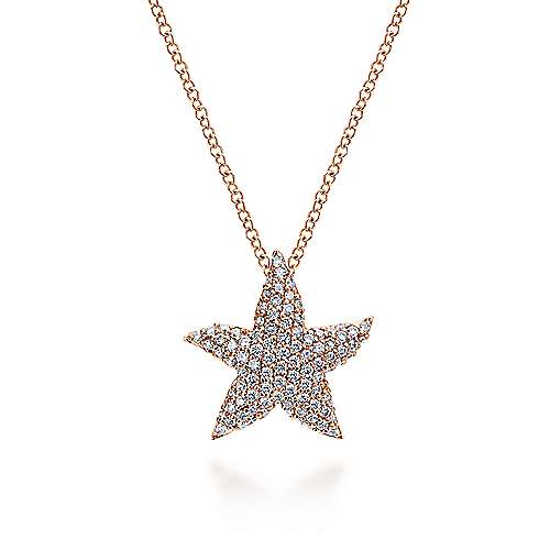 14k Rose Gold Pave Diamond Star Fashion Necklace