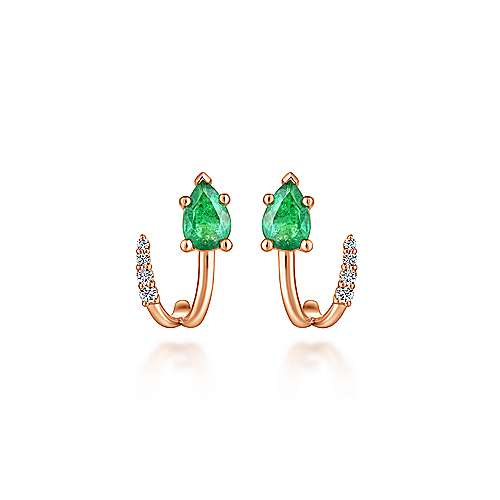 14k Rose Gold Pear Cut Emerald & Diamond J Curve Stud Earrings