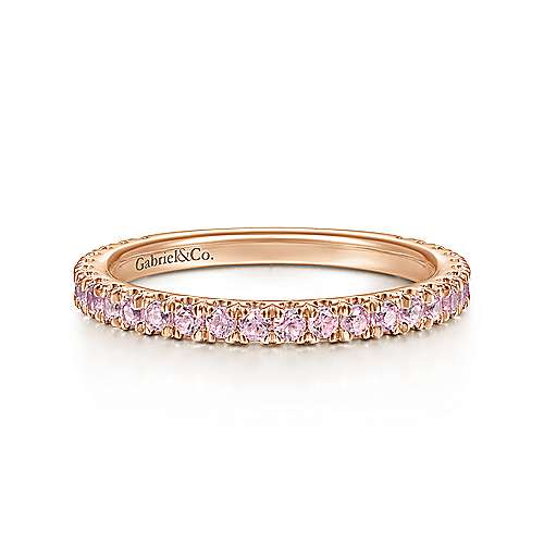 14k Rose Gold Pink Created Zircon Scalloped Stackable Ladies' Ring