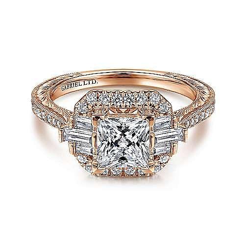 Gabriel - 14k Rose Gold Princess Cut Straight Engagement Ring