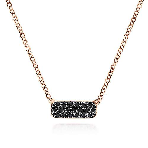 14k Rose Gold Rectangular Black Diamond Bar Fashion Necklace
