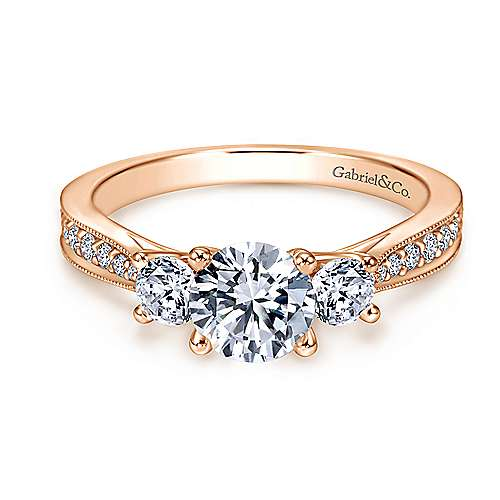 Gabriel - 14k Rose Gold Round 3 Stones Engagement Ring