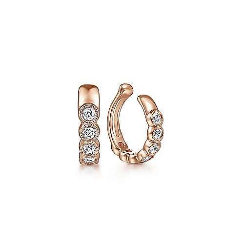 14k Rose Gold Round Bezel Diamond Earcuff Earring