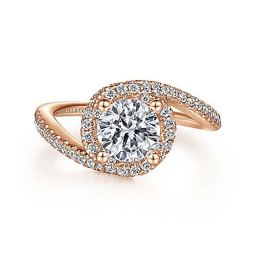 Gabriel - 14k Rose Gold Round Bypass Engagement Ring