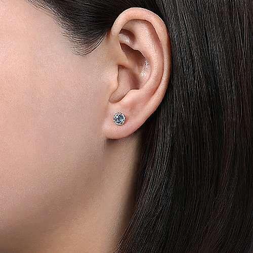 14k Rose Gold Round Cut Diamond Halo & Swiss Blue Topaz Stud Earrings