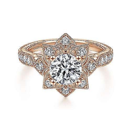 Gabriel - 14k Rose Gold Round Free Form Engagement Ring
