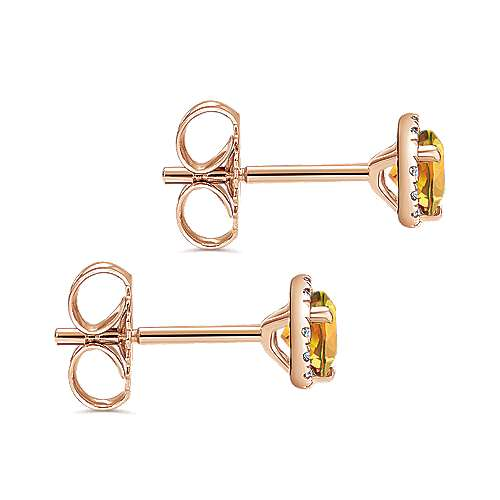 14k Rose Gold Round Halo Citrine and Diamond Stud Earrings
