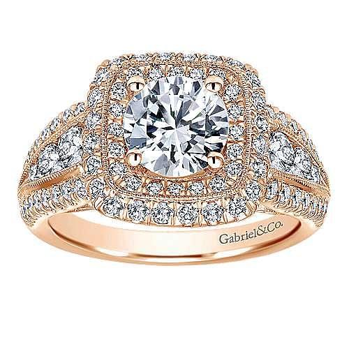 14k Rose Gold Round Halo Engagement Ring angle 5