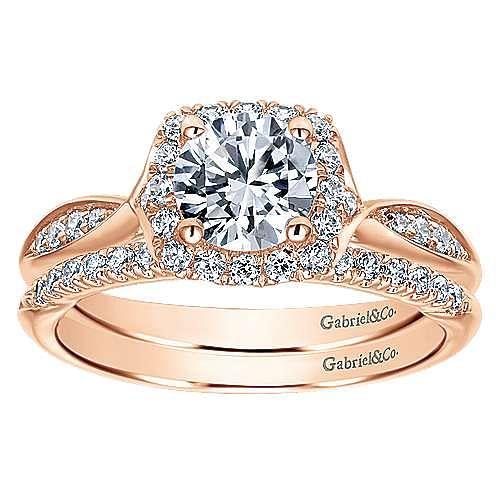 14k Rose Gold Round Halo Engagement Ring angle 4