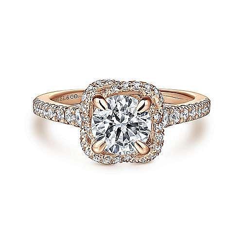 Gabriel - 14k Rose Gold Round Halo Engagement Ring