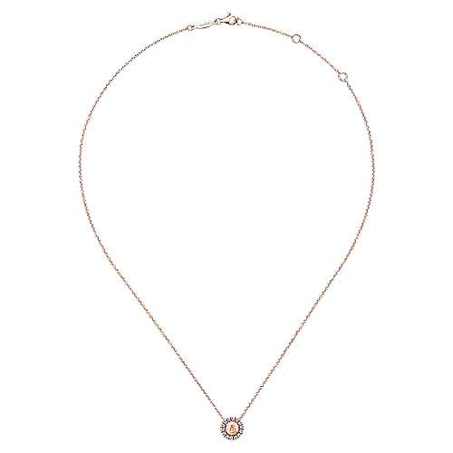 14k Rose Gold Round Hammered Diamond Fashion Necklace