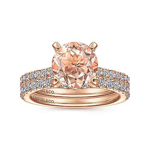 14k Rose Gold Round Morganite and Diamond Engagement Ring