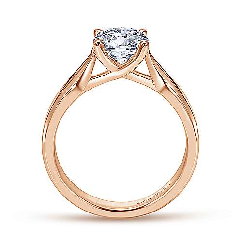 14k Rose Gold Round Solitaire Engagement Ring angle 2