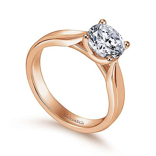 14k Rose Gold Round Solitaire Engagement Ring angle 3