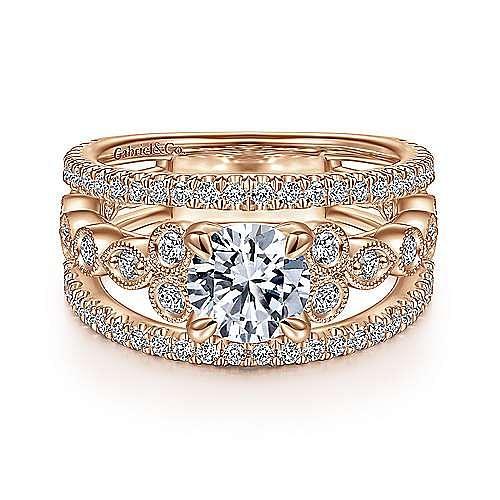 Gabriel - 14k Rose Gold Round Split Shank Engagement Ring