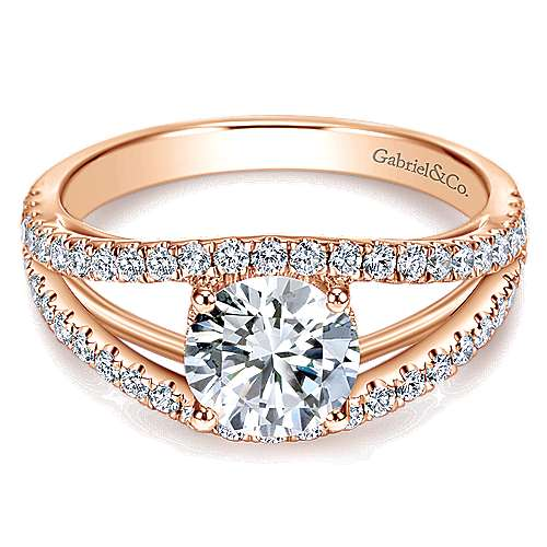 Gabriel - 14k Rose Gold Round Split Shank Engagement Ring