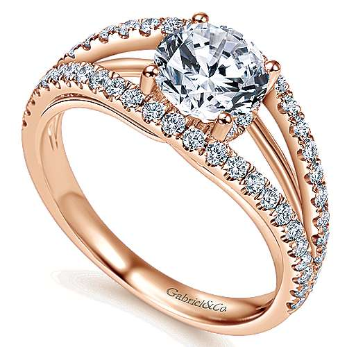 14k Rose Gold Round Split Shank Engagement Ring angle 3