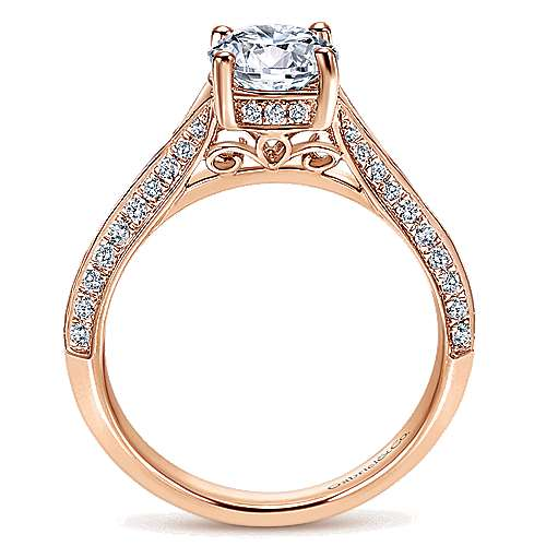 14k Rose Gold Round Straight Engagement Ring angle 2