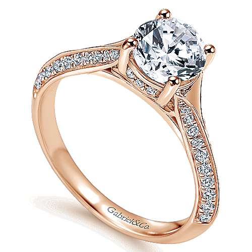 14k Rose Gold Round Straight Engagement Ring angle 3