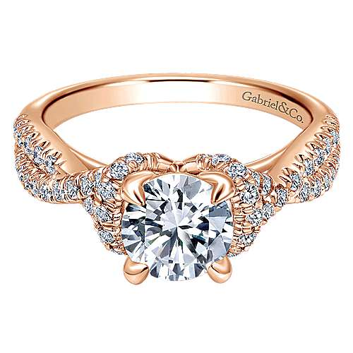 Gabriel - 14k Rose Gold Round Twisted Engagement Ring