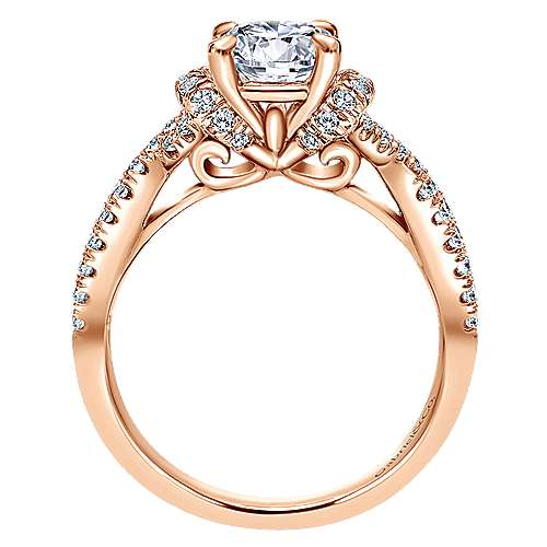 14k Rose Gold Round Twisted Engagement Ring angle 2