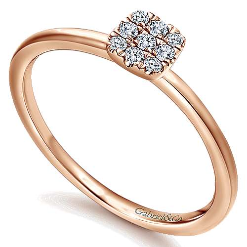 14k Rose Gold Silk Fashion Ladies' Ring angle 3
