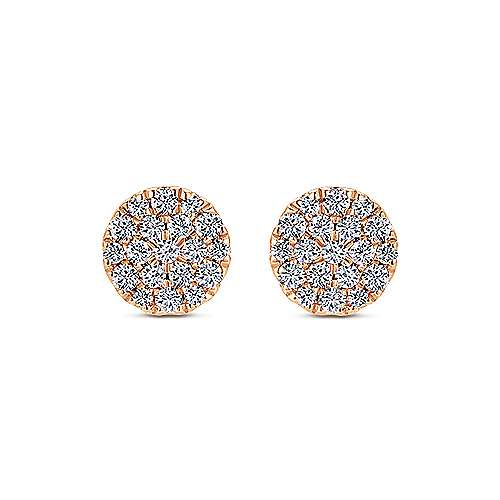 14k Rose Gold Silk Stud Earrings angle 1